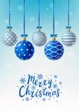 Christmas greeting card with Xmas balls Stock Photography