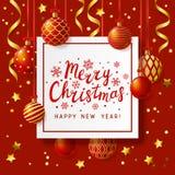 Christmas greeting card with Xmas balls Stock Photos