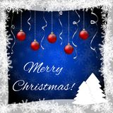 Christmas greeting card with xmas balls and trees. Vector Illustration Stock Photos
