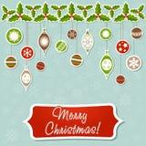 Christmas greeting card with xmas toy garland Royalty Free Stock Photos