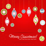 Christmas greeting card with xmas toys Stock Images