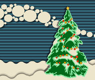 Christmas greeting card with Xmas tree, vector design template Stock Images