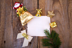 Christmas Greeting Card with yellow decorations Stock Image