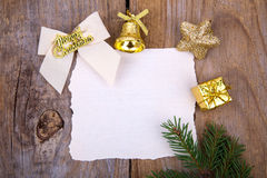 Christmas Greeting Card with yellow decorations Royalty Free Stock Photos