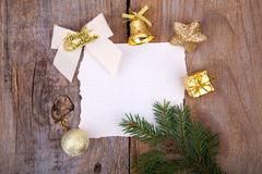 Christmas Greeting Card with yellow decorations Stock Images