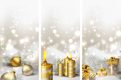 Christmas greeting-cards. Set of three Christmas greeting-cards with burning candles and Christmas gifts Stock Photo