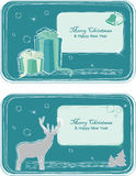 Christmas Greeting Cards. Two cards with deer and gifts Stock Photography