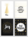 Christmas greeting cards collection. Trendy Christmas Design Set. Holiday Themed Collection in black white and gold. Vector Illustration Stock Image