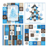 Christmas greeting cards - compilation of four car. Ds Royalty Free Stock Image