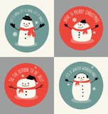 Christmas greeting cards or gift tags with cute snowmen. Drawn in simple flat vector illustration