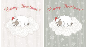 Christmas greeting cards. With sheep sleeping on a fluffy cloud Stock Image