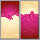 Christmas Greeting Cards. Greeting cards with white bows and copy space Royalty Free Stock Photo