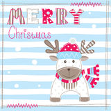 Christmas greeting carg with cute deer Royalty Free Stock Images