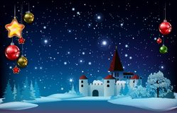Christmas greeting with pine branch and castle Stock Photo