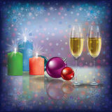 Christmas greeting with champagne and candles Stock Images