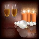 Christmas greeting with champagne and candles Royalty Free Stock Photo