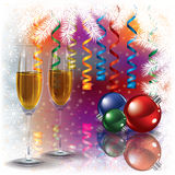 Christmas greeting with champagne and decorations Royalty Free Stock Images