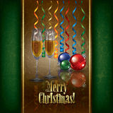 Christmas greeting with champagne and decorations Stock Photography