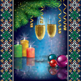 Christmas greeting with champagne and decorations Royalty Free Stock Photos