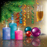 Christmas greeting with champagne and tree Stock Images