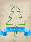 Christmas greeting with Christmas tree paper clip Royalty Free Stock Images