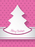 Christmas greeting with christmastree and hearts background Stock Images