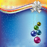 Christmas greeting colored balls with white bow Stock Photos