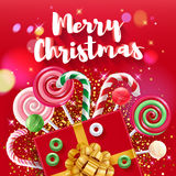 Christmas greeting colorful vector illustration with sweets. Royalty Free Stock Photography
