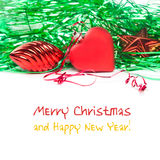Christmas greeting congratulations card template with red toy heart, toy and star. Green christmas decoration Stock Photos