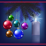 Christmas greeting with decoration and candle Royalty Free Stock Photos