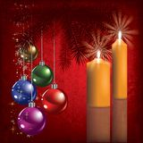 Christmas greeting with decoration and candle Stock Photos