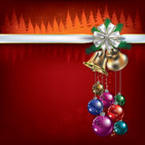 Christmas greeting with decorations and bells Stock Photos