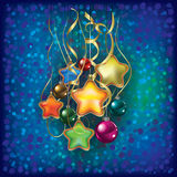 Christmas greeting with decorations on blue Royalty Free Stock Photography