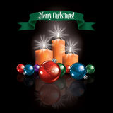 Christmas greeting with decorations and candles Royalty Free Stock Photos