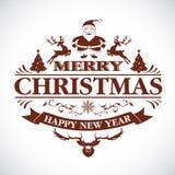 Christmas greeting decorative emblem Royalty Free Stock Photos