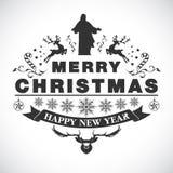 Christmas greeting decorative emblem Stock Images