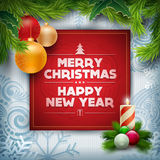 Christmas Greeting Design. Vector Christmas and new year wishes on card. Christmas related ornaments objects on color background. Elements are layered separately Royalty Free Stock Images