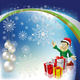 Christmas greeting dwarf with gifts Royalty Free Stock Image