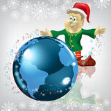 Christmas greeting dwarf with globe on white Stock Photos