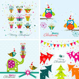 Christmas greeting with an elephant, owl. Christmas gift, Christmas tree royalty free illustration