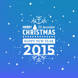 Christmas greeting with falling snow flakes Stock Photo
