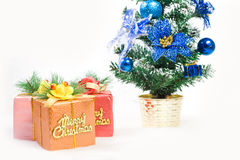 Christmas greeting gifts isolated on white Royalty Free Stock Images