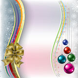 Christmas greeting gold bow with balls Stock Images