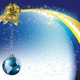 Christmas greeting gold bow with planet Stock Photo