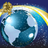 Christmas greeting gold bow with planet Stock Image
