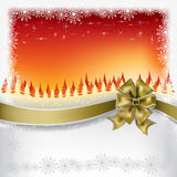 Christmas greeting gold bow with ribbon Stock Images