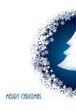 Christmas greeting with half bursting christmastree. White christmas greeting card design with half bursting christmastree from blue circle Royalty Free Stock Photography