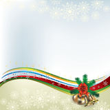 Christmas greeting with handbells and bow Royalty Free Stock Photography