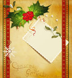 Christmas greeting with holly card Royalty Free Stock Photo