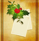 Christmas greeting with holly,two card Stock Photography